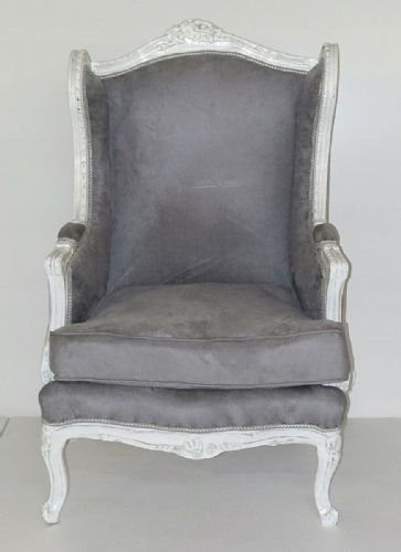ARMCHAIR - BAROQUE STYLE GLAMOUR ARMCHAIR WHITE & GREY # AS13